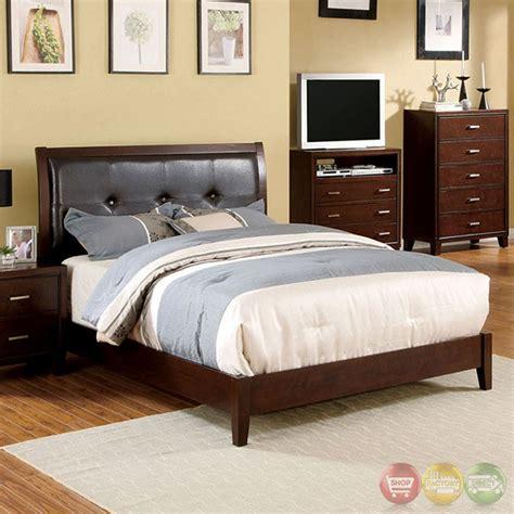 padded headboard bedroom sets enrico i contemporary brown cherry platform bedroom set