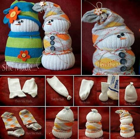sock snowman craft with rice rice filled snowmen