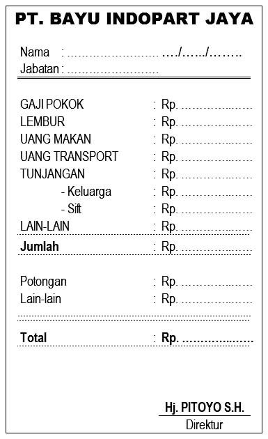Contoh Format Slip Gaji Wiraswasta - Guru Paud