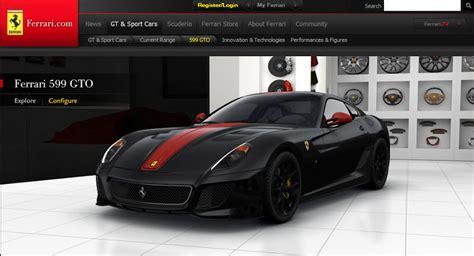 Ferrari Configurator by New Ferrari 599 Gto Configurator Released
