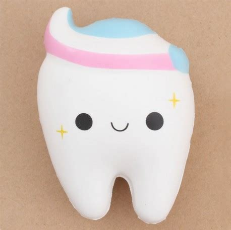 Squishy Smile Teeth white tooth with pink white blue toothpaste squishy by cutie creative squishy