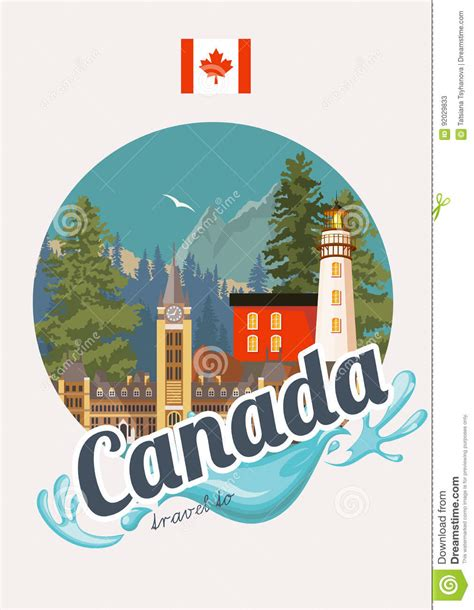 traveling to canada with a travel to canada postcard canadian vector illustration with canadian flag retro