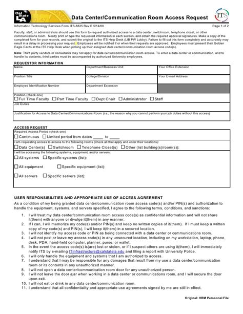 Data Report Request Form Template Data Center Communication Room Access Request