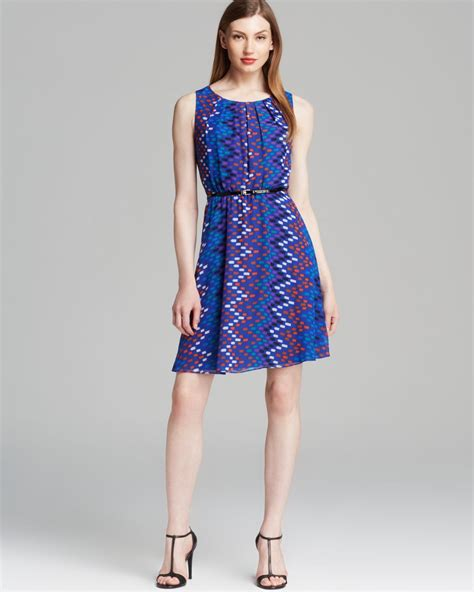 calvin klein dress sleeveless belted chiffon print in blue