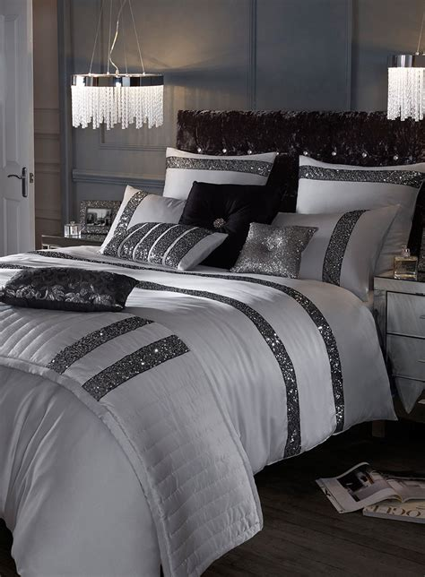 sequin bedding set kylie minogue safia silver sequin bedding range bhs