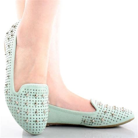 studded loafer flats mint green suede rhinestones spike studded loafers