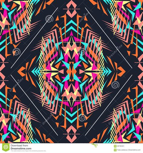 aztec colors vector seamless texture tribal geometric pattern electro