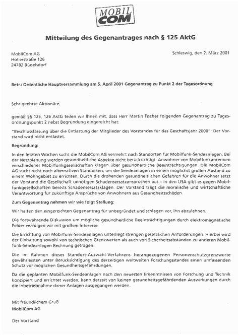 Halbformeller Brief Beispiel Aktion Hauptversammlung