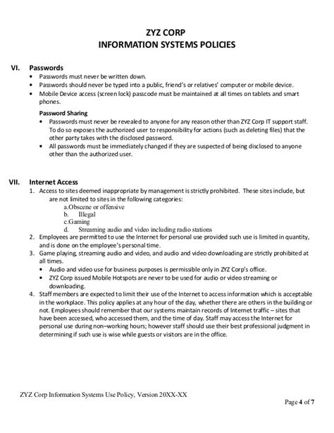 mobile device management policy template it policy template