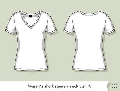 women short sleeve v neck t template for design stock