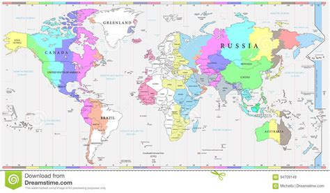 colored time world time zones map and political map of the world stock