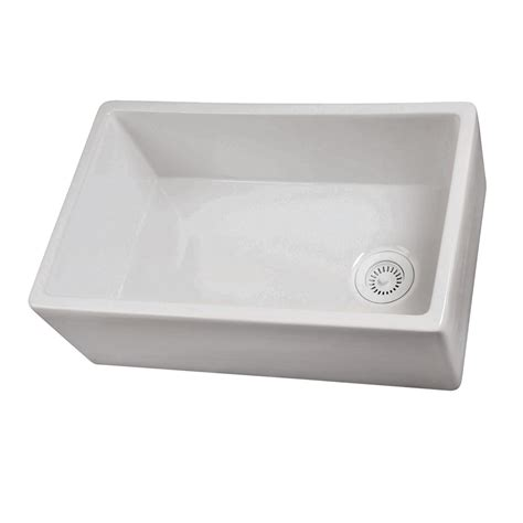 kitchen sink at lowes shop barclay 17 5 in x 29 75 in white single basin fireclay apron front farmhouse residential