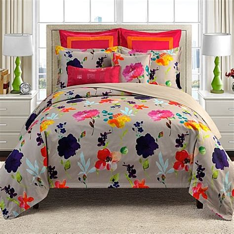 merritt watercolor floral reversible comforter set bed