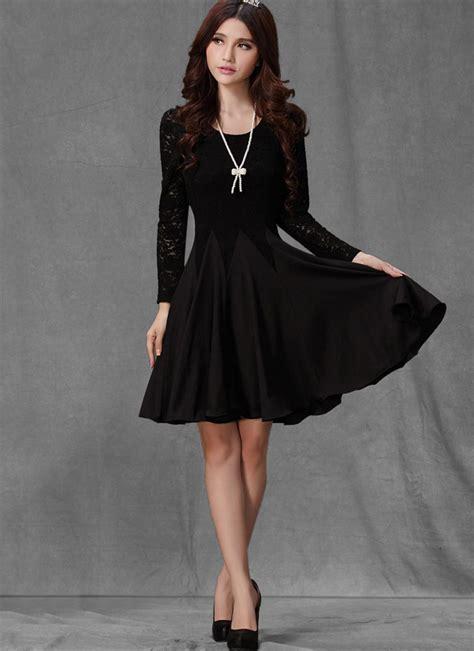 Sleeved Black sleeved black lace chiffon dress black dress