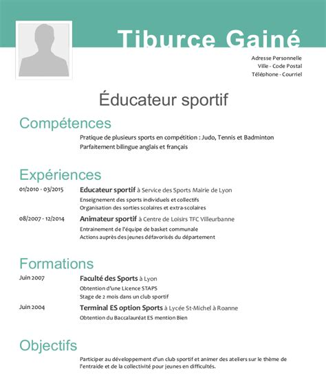 Ecrire Un Cv En Francais Exemple by Exemple De Cv Educateur Sportif
