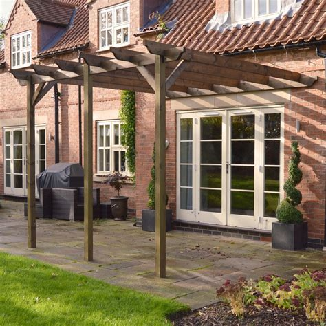 large lean to pergola wooden garden structure 3 posts