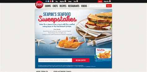 Foodnetwork Sweepstakes - foodnetwork com seafoodsweepstakes seapak s seafood sweepstakes