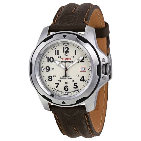 timex expedition rugged field timex expedition rugged field beige brown leather s t49261 timex watches