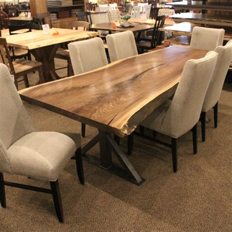 live edge slab dining room table walnut live edge slab table set solid hardwood furniture