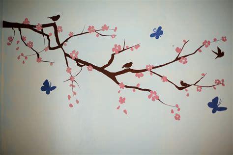 sakura flower mural wall painting youtube cherry blossoms painting www pixshark com images