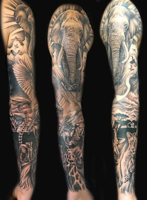 animal sleeve tattoo designs sleeve africa animals wildlife
