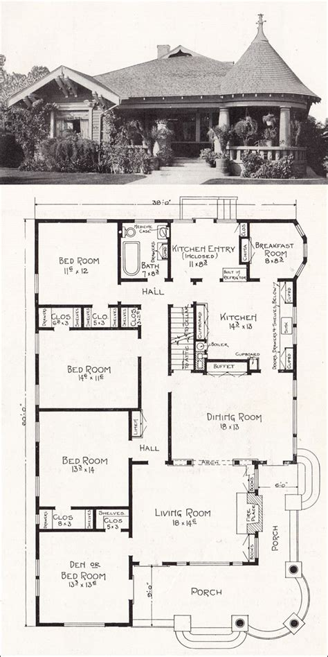 home floor plans california bungalow queen anne hybrid 1918 house plan by e w