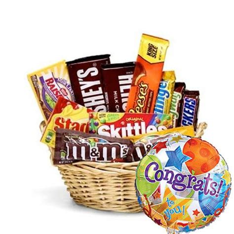 congratulations candy gift basket at send flowers