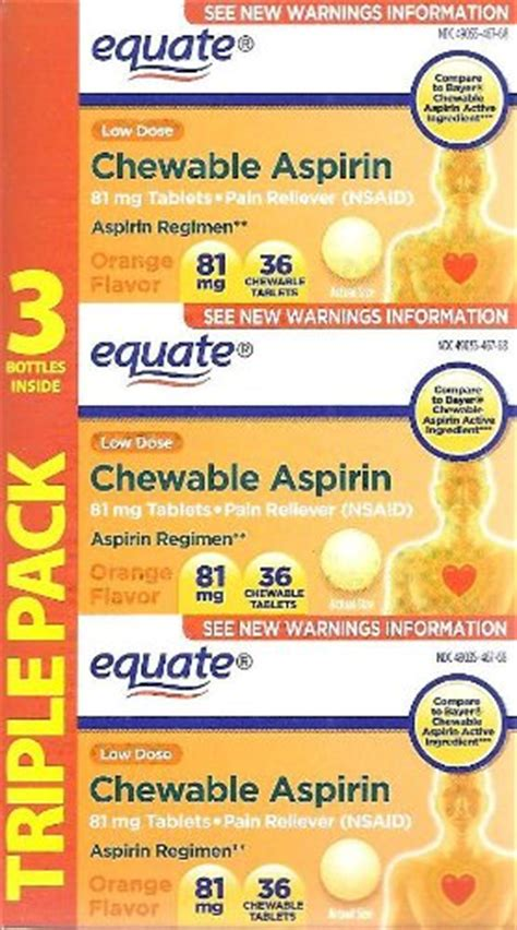Equate Chewable Low Dose Aspirin equate aspirin 81 mg low dose orange flavor 108 chewable tablets compare to bayer