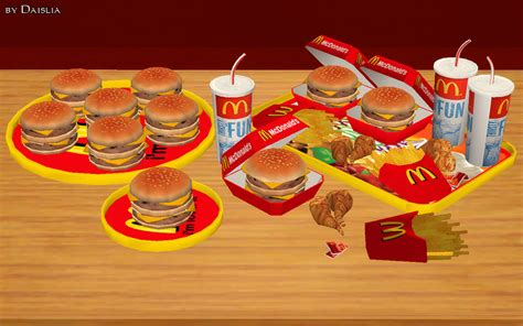 sims 4 food cc modthesims mcdonald s deco food set 8 new meshes