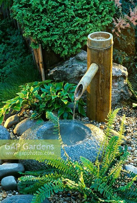 gap gardens japanese water feature  bamboo water