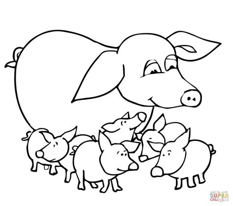 baby pigs and mother coloring page free printable