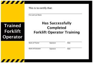 Training Certification Template Forklift Training Certificate Template Free Example