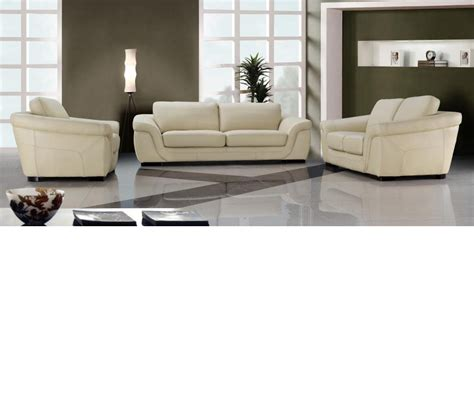 Modern Beige Sofa Dreamfurniture 0710 Modern Beige Leather Sofa Set