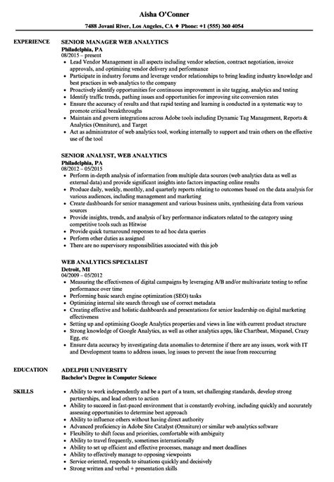 Web Analytics Specialist Sle Resume by Web Analytics Specialist Sle Resume My Birthday Gift Essay Information Technology
