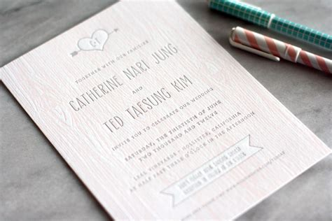 catherine ted s modern and rustic faux bois wedding invitations