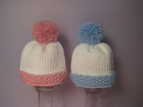 Handmade Personalized Knitted - knitted baby hats knit hats for blue and white
