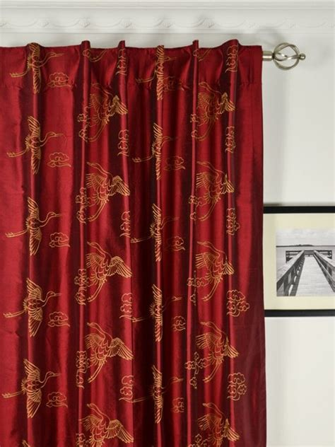Red Embroidered Animal Dupioni Silk Curtains