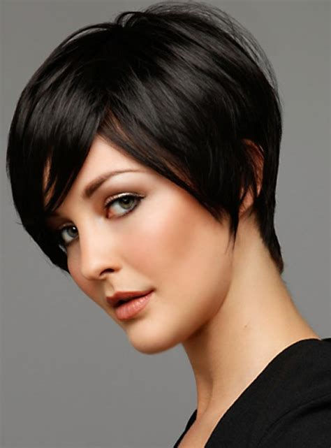 pic of black women side swept bangs and bun hairstyle short black haircut with side swept bangs for 2014