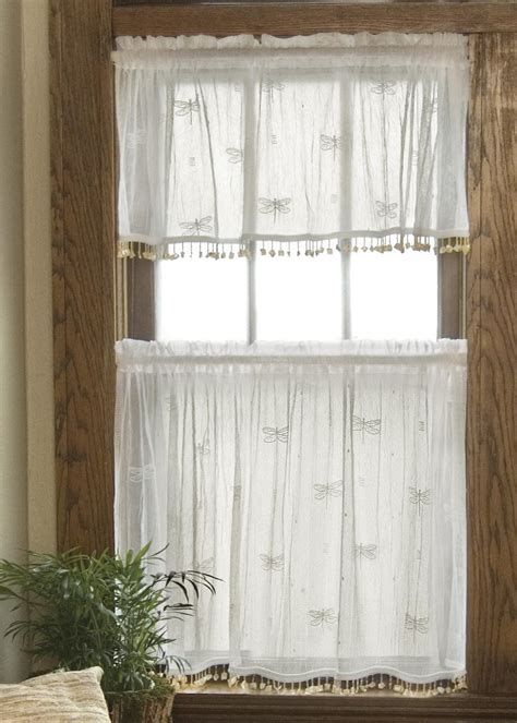 snowflake lace curtains dragonfly tier w trim heritage lace
