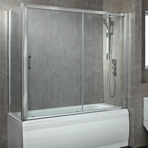 glass shower screen for bath 8mm glass sliding bath enclosed shower screen 1800mm se306