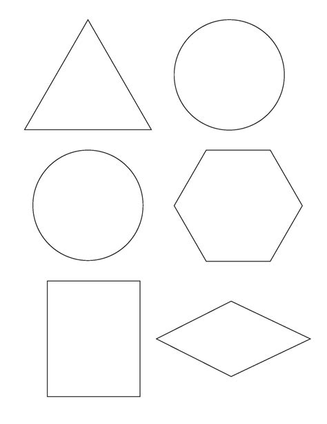 templates of shapes preschool concept of half and the everyday