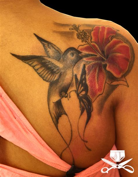hummingbirds tattoos hibiscus and hummingbird hautedraws