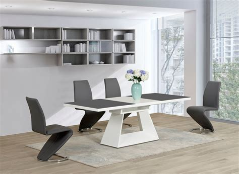 grey and white dining furniture white glass high gloss extending dining table and 6 grey z