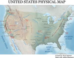 Usa Physical Map by Cartographic Design