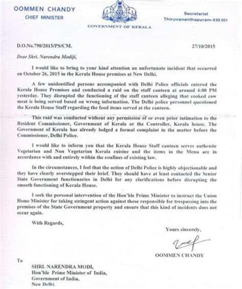Complaint Letter To Kerala Chief Minister Kerala House Beef Issue Angry Oommen Chandy Shoots Letter To Pm Modi Demands Against