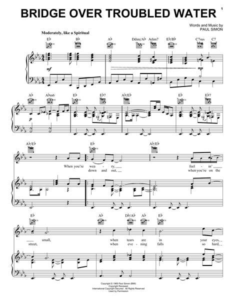 printable lyrics something in the water bridge over troubled water sheet music direct