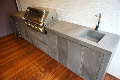 concrete bench top outdoor kitchen with polished concrete bench top doors