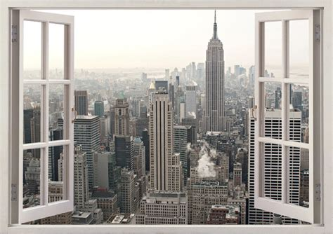 new york drapery new york wall sticker 3d window new york wall decal ny for