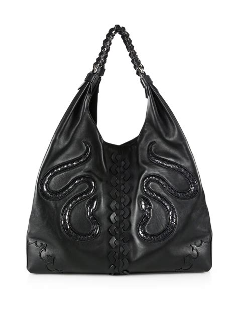 Roberto Cavalli Rome Leather Hobo by Lyst Roberto Cavalli Slouchy Leather Snakeskin Hobo