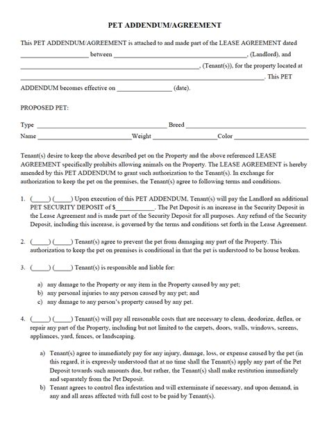 rental management agreement template pet addendum agreement pdf property management forms